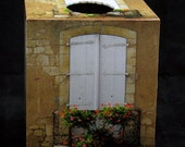 Tissue Box Cover Shutters and Flowers in Domme France