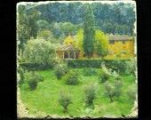 Set of 4 Marble Coasters - Yellow Farmhouse Near Florence Italy