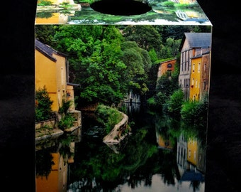 Tissue Box Cover Luxembourg Village Reflections