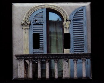 Double Switchplate Cover - Blue Shutters