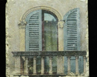Set of 4 Marble Coasters - Blue Shutters in Verona Italy