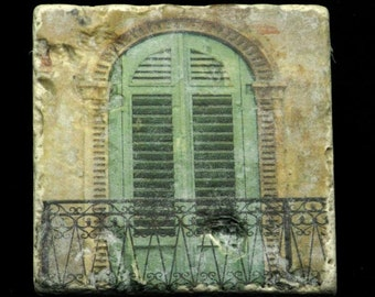 Set of 4 Marble Coasters - Green Shutters in Verona Italy