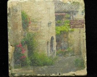 Set of 4 Marble Coasters - French Village Scenes
