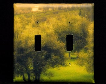 Double Switchplate Cover - Tuscan Olive Grove