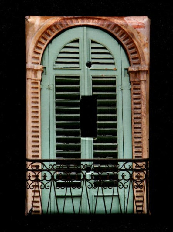 Single Switchplate Cover - Green Shutters
