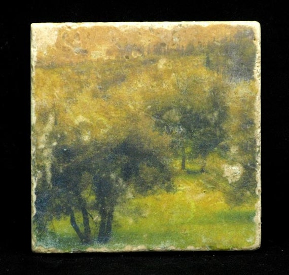 Set of 4 Marble Coasters - Olive Grove in Tuscany Italy