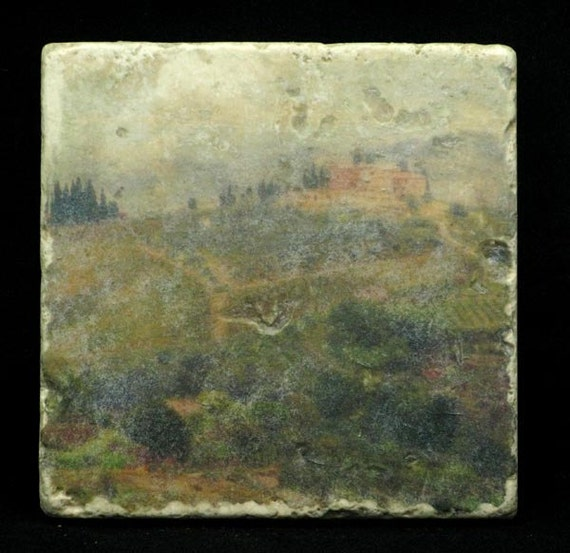 Set of 4 Marble Coasters - Villa on a Hill inTuscany Italy