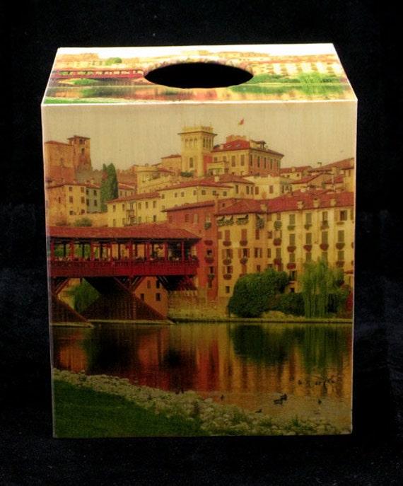 Tissue Box Cover Ponte Vecchio Bridge in Bassano Italy