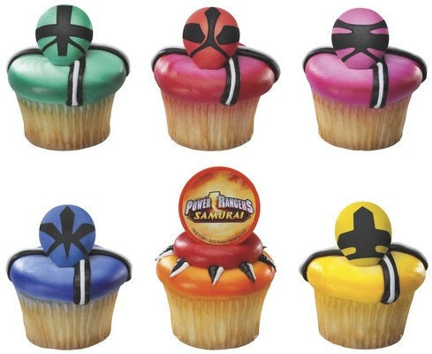 12 Power Rangers Cupcake Rings Cake Toppers B 4