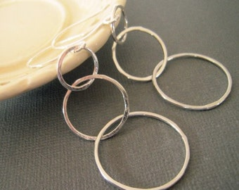 Trio of circles earrings .. sterling silver..