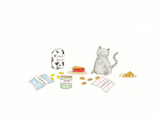 Kitty Piggy - Original Watercolor Painting