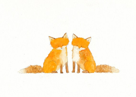 Two Red Foxes - Original Watercolor Painting