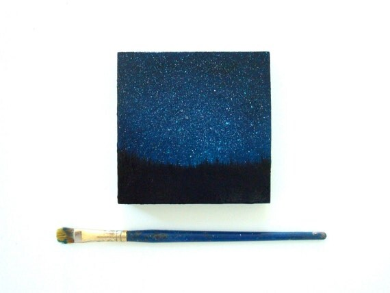 Small Night Sky Oil Painting