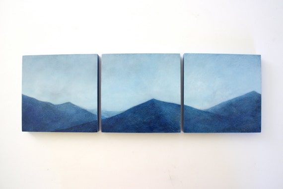 Triptych Adirondack Mountain Oil Painting