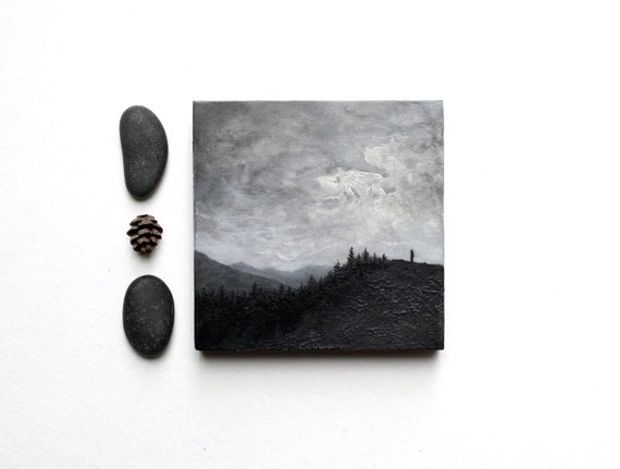 Black and White Adirondack Oil Landscape Painting