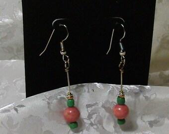 Chance Encounter, Pink Rhodonite, Green Glass, Seed Beads, Metal Findings, Pierced Earrings, Stainless Steel, Ear Wires