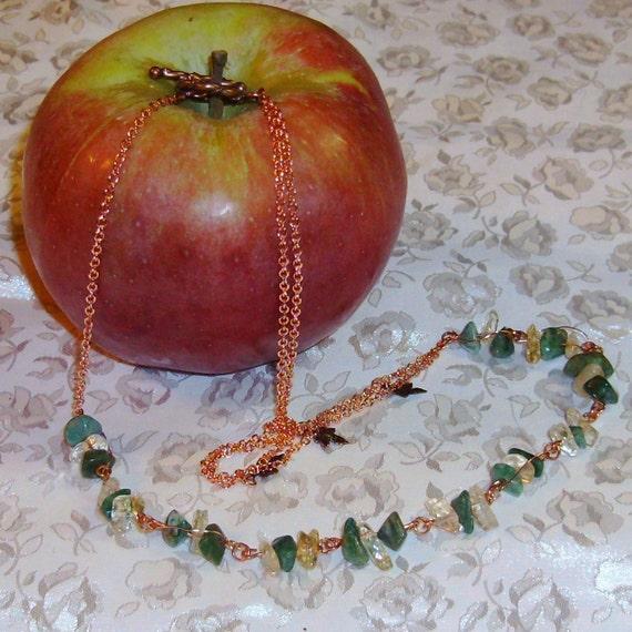 Dappled Sunlight, Gemstone, Bracelet, Earrings, Necklace, Ring, Citrine, Copper Maple Leaf, African Jade, Nephrite Jade, Sterling Silver