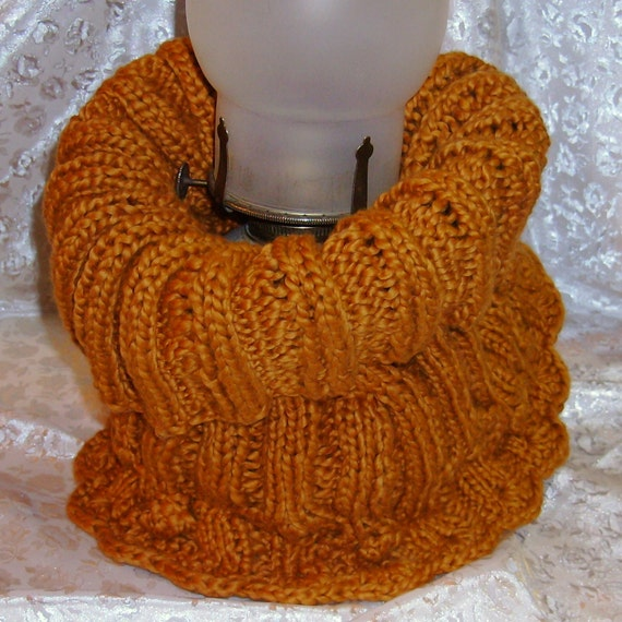 ENTWINED Spice Cotton Cable Knit Neck Warmer Cowl Snood Infinity Turtleneck Dickey