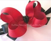 Layered Hairbow Headband- Dark red & Black Classic Layered Hairbow Headband kids girls baby accessories