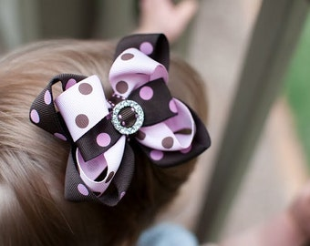 Princess Boutique Bow -  Pink/Brown Polka Dot Bling Layered Boutique Bow w/ Rhinestone- Made to Order
