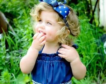 Hair Bow Headband - Navy Blue & White Polka Dots, Photo prop, Infants Toddlers Girls Teens Adults