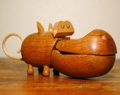 Zoo Line Wooden Hippo - Mid Century Modern Teak Hippo