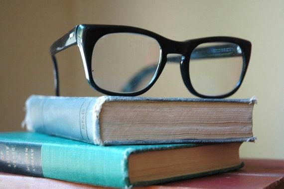 Vintage Horn Rimmed Glasses - 1950's Black Cat Eye Nylon Glasses