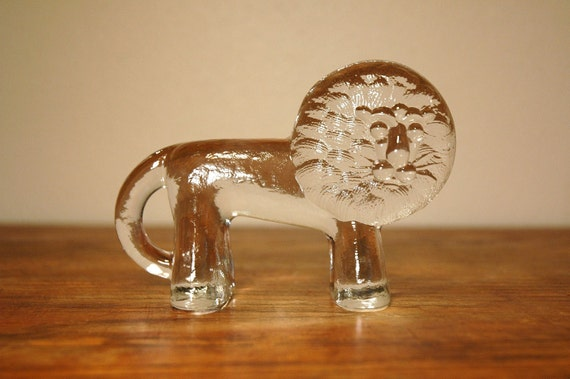Danish Modern Art Glass Animal Figurine - Kosta Boda Zoo Series Lion