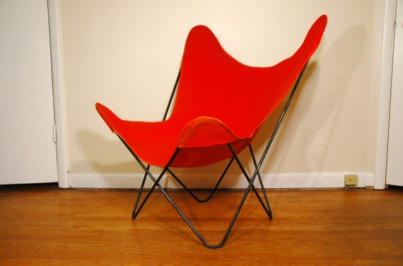 Knoll Hardoy Butterfly Chair - Mid Century Modern Orange B.K.F. Chair