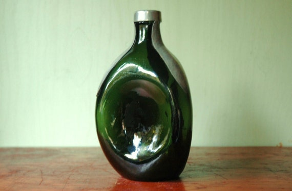 Danish Modern Pinched Glass And Pewter Decanter - Art Deco Green Glass Vase