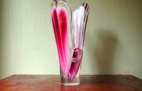 Danish Modern Art Glass Vase - Paul Kedelv Coquille Crystal Vase For Flygsfors Glass