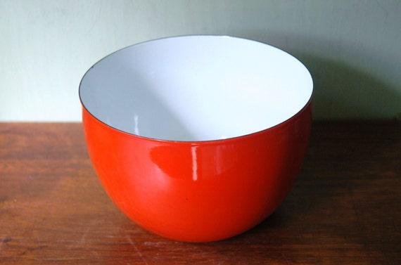 Finel Kaj Franck Enamel Bowl - Danish Modern Large Red Enamelware By Arabia of Finland