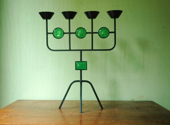 Erik Hoglund Candelabra For Kosta Boda Glassworks / Ystad-Metall Sweden -  Mid Century Danish Modern Iron Candle Holder