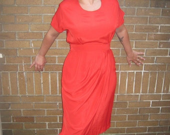 REDUCED Vintage 80s Silken Grecian Goddess Dress, Red Orange 6, 8 Modern, Beautiful, like Halston