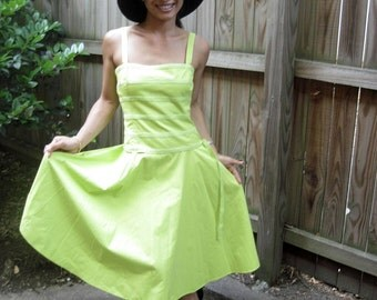 Shocking Citron Green Tie Waist Sun Dress, Vintage 80s 90s, Small 2, 4 ----- Like Herve Leger