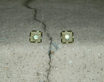 CLEARANCE Vintage 70s Mesh and Rhinestones Clip On Earrings Gold Tone, Utterly Unique
