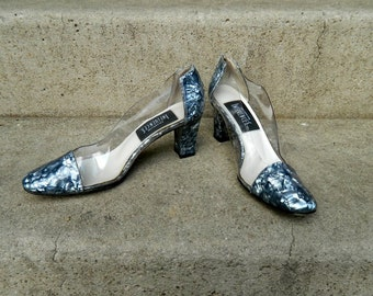 REDUCED Wild, Elegant Clear Plastic Pumps Marbled Blue Accents Funkier Than a Mosquito's Tweeter