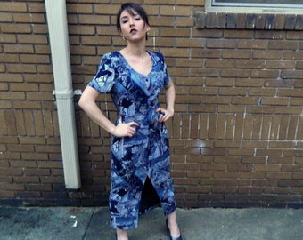 CLEARANCE Blue Abstract Floral All THAT JAZZ Dress 90s Vintage ------ Uniquely Sexy, Size M 4, 6, 8