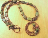 Nautilus necklace, Copper and unakite nautilus necklace, free shipping
