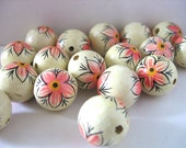 Hand painted wooden beads, flower, 17 mm, set of  30 beads, custom listing for lily loves