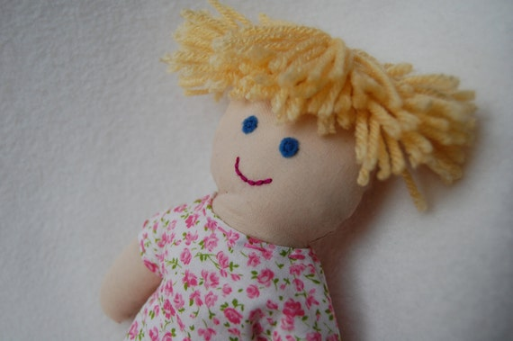 Reserved for kmt257--ALICE--cloth doll in white and pink flowered dress--light skin, blonde hair, blue eyes (FREE shipping in USA)