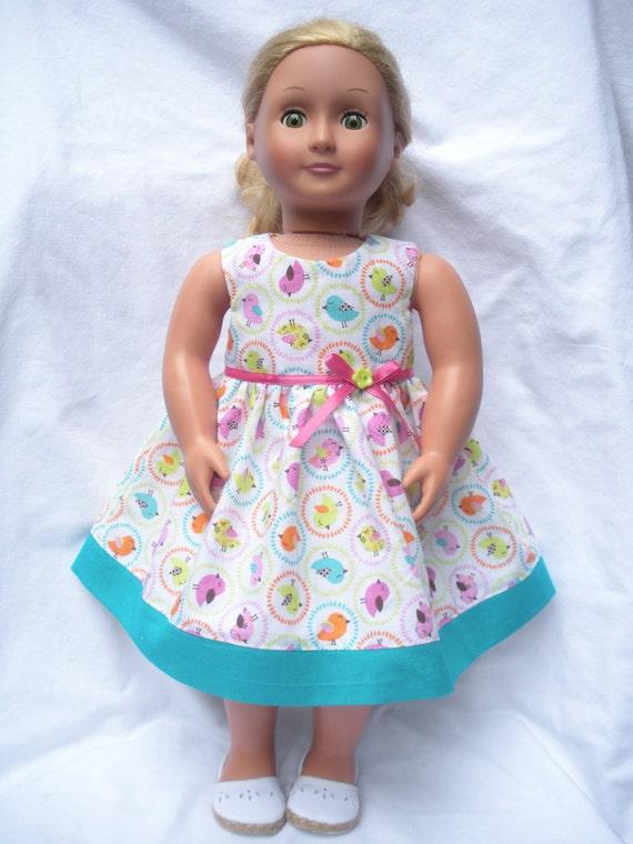 American Girl-18 inch doll dress-Tweet Tweet