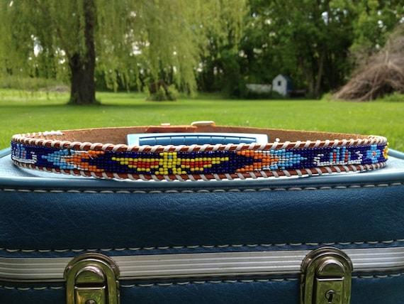 70s Beaded Leather Belt