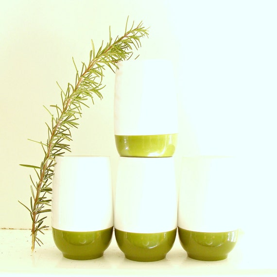 SUMMER SALE set of four vintage white and green plastic tumblers