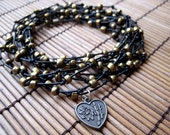 Black Leather Wrap Bracelet with Bronze Beads, and a Chinese Good Luck Charm
