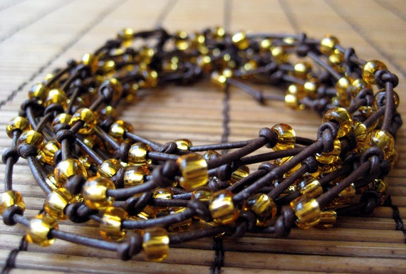 Holiday Sale - Brown Leather Wrap Bracelet with Gold Color Beads