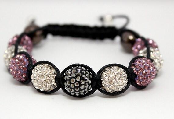 Macrame Bracelet with Light Purple & White Crystal Pave Beads