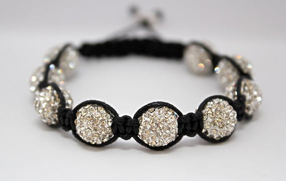 Iced Out Macrame Bracelet with Crystal Pave Beads