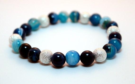 Pretty Blue Striped Agate & Stardust Bracelet