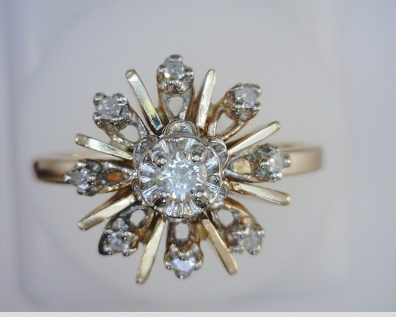 1950's Starburst Diamond 14kt Gold Ring